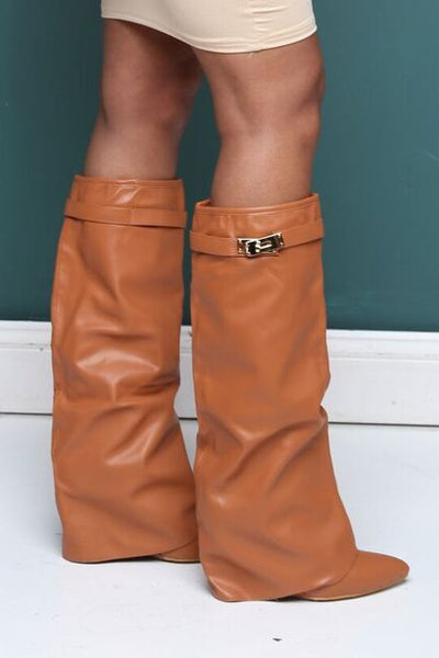 Déjà Vu Camel Faux Leather Wedge Boots