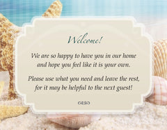 Custom Seaside Beach Theme Guest Bath Welcome Cards