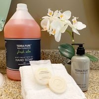 Terra Pure Spa Collection Antibacterial Liquid and Bar Soap for Vacation Rentals | GuestOutfitters.com