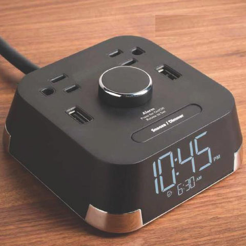 Night Stand Clock with 2 Power Outlets and USB Ports