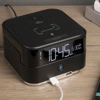 Wireless Qi Charging Bluetooth Speaker Power Cube with USB Ports and Alarm | GuestOutfitters.com