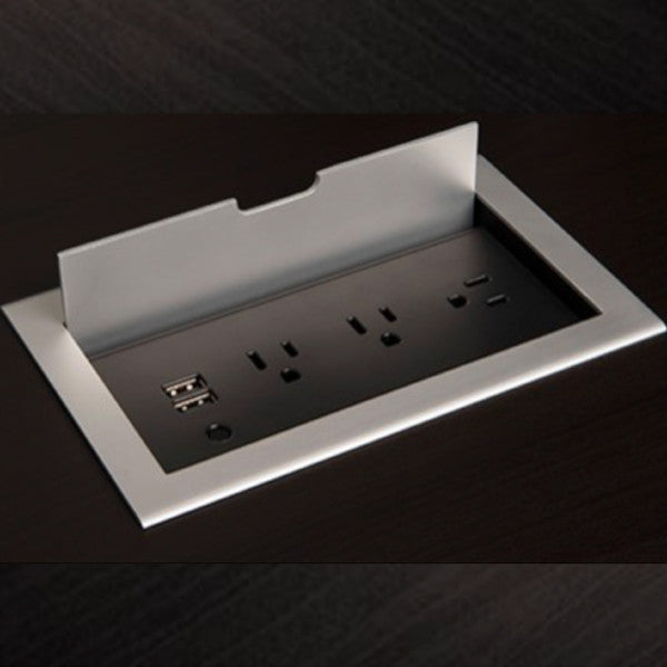 Flip Cover Flush Mount Power Strip With Outlets And Usb