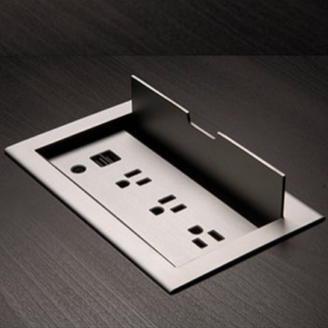 Flip Cover Flush Mount Power Strip with 3 Power Outlets and 2 USB Ports