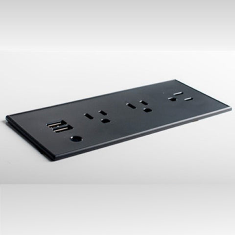 Black Flush Mount Power Strip with 3 Power Outlets and 2 USB Ports