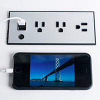 Flush Mount Power Strip with 3 Power Outlets and 2 USB Ports