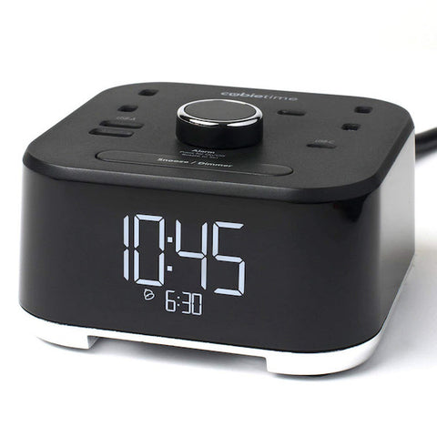 CubieTime UK - Clock with Power Outlets and USB Ports | GuestOutfitters.com