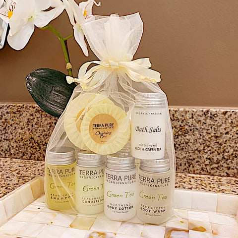 Guest Outfitters Bath Toiletry Gift Bags, Terra Pure Green Tea Amenities