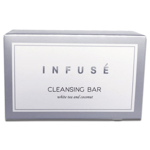 Infusé White Tea & Coconut Cleansing Bars in Elegant Silver Carton | Airbnb VRBO Vacation Rental Toiletries | GuestOutfitters.com
