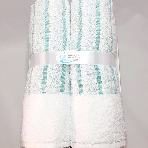 White & Turquoise Seaside Stripe Hotel Pool & Spa Towels