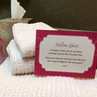 Customizable Guest Welcome Cards for the Bedroom and Bathroom