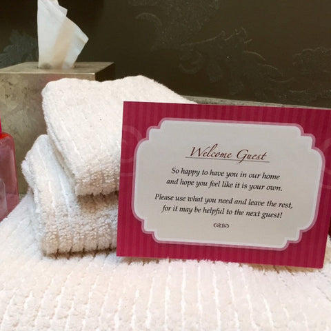 custom guest bath welcome cards - guestoutfitters