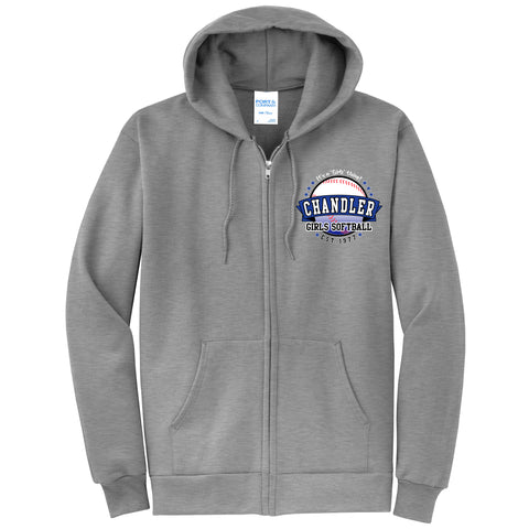 Adult Chandler Girls Softball Athletic Grey Zip Up Sweatshirt