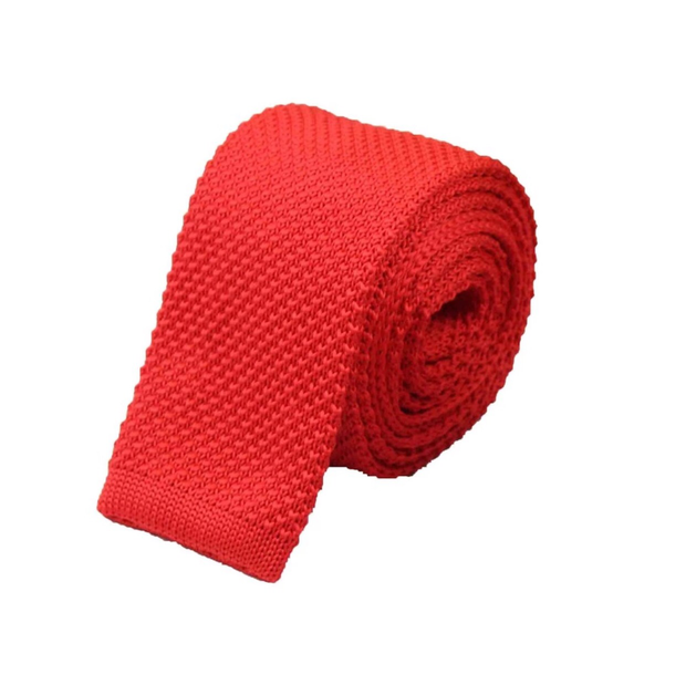 """The Red Herring"" Skinny Knit Tie - Resso Roth"