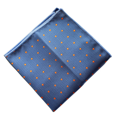 Sky Blue Orange Polka Dot Pocket Square - Resso Roth