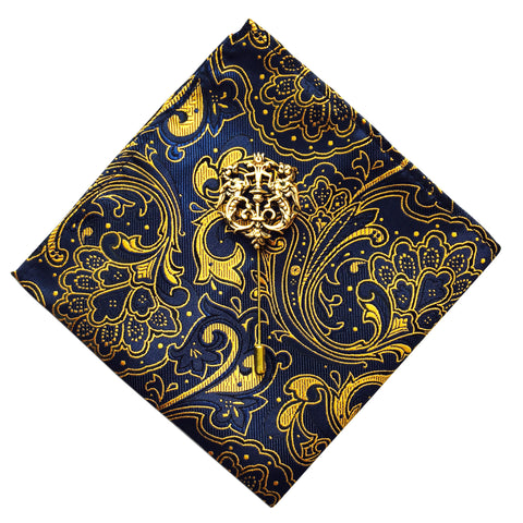 Paisley Pocket Square + Crest Lapel Pin - Resso Roth