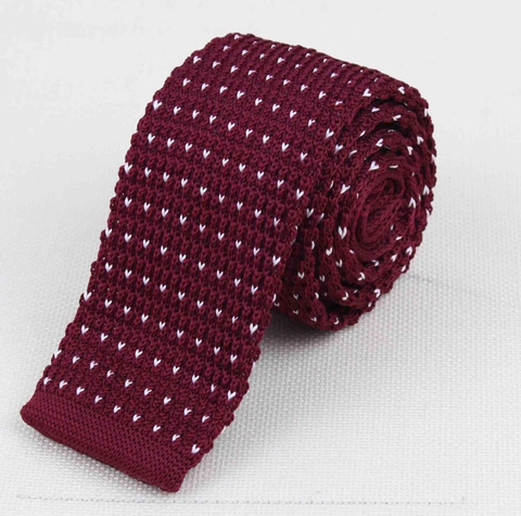 """The Burgundy Polka Dot"" Skinny Knit Tie - Resso Roth"