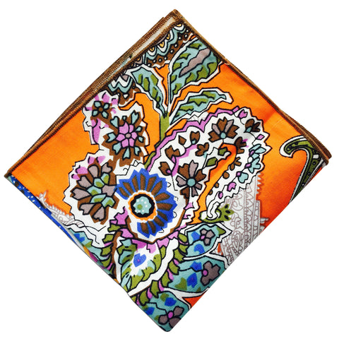 Orange Paisley Pocket Square - Resso Roth