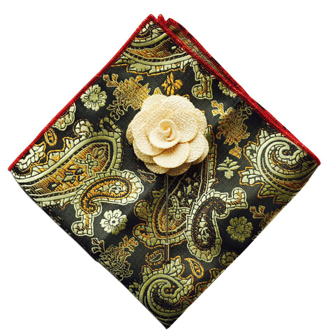 Paisley Pocket Square + Beige Lapel Pin - Resso Roth