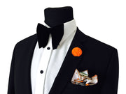 Black Velvet Bowtie + Pocket Square + Lapel Pin - VINTAGE COMBO SET - Resso Roth