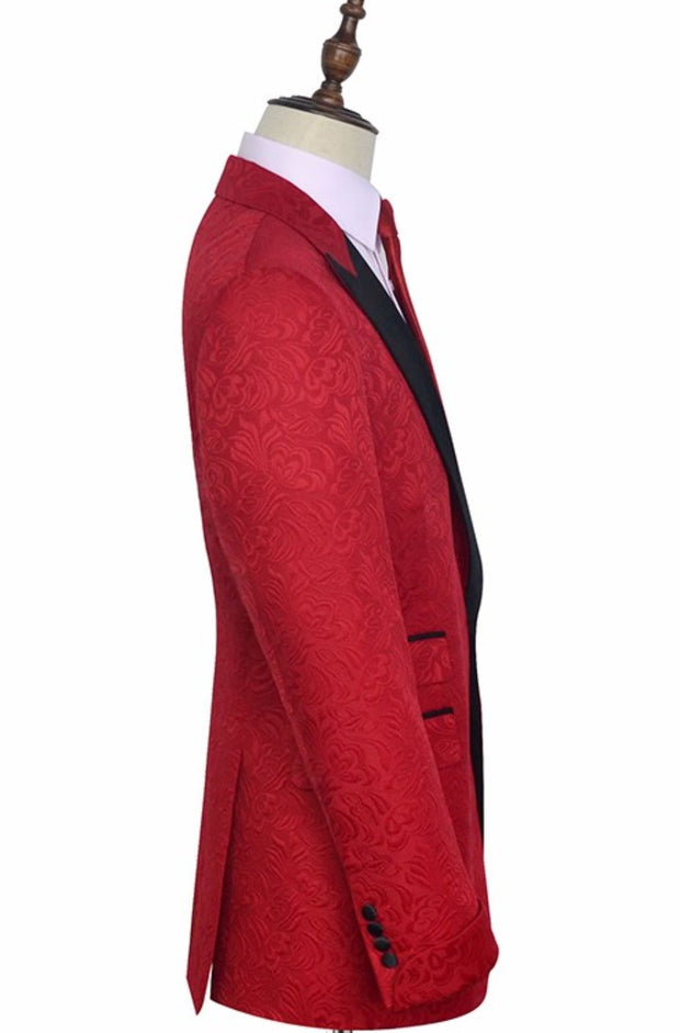 Red Embroidered Wide Lapel Lapel Tuxedo - Resso Roth