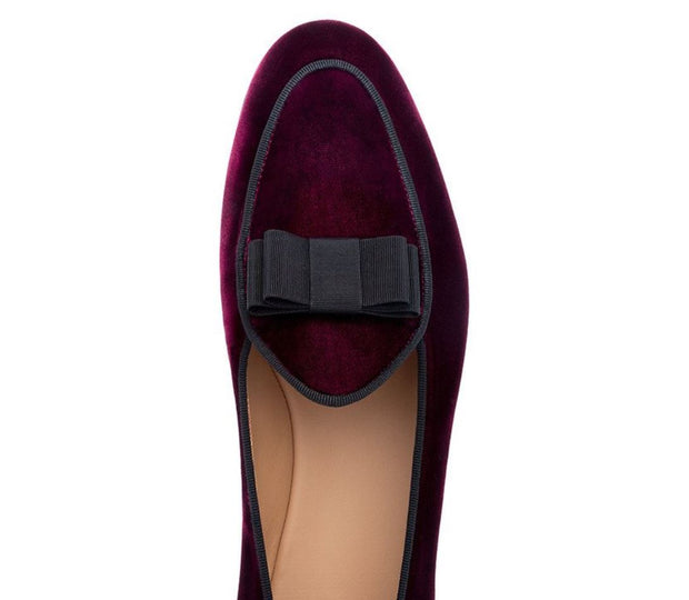 Burgundy Velvet Bowtie Loafers - Resso Roth