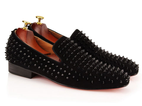 Black Studded Velvet Loafers - Resso Roth