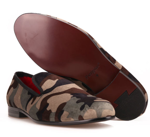 Army Camouflage Velvet Loafers - Resso Roth