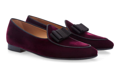 Burgundy Velvet Bowtie Loafers