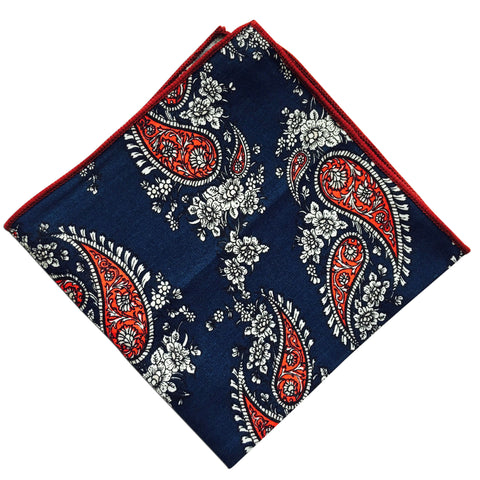 Blue Paisley Pocket Square - Resso Roth