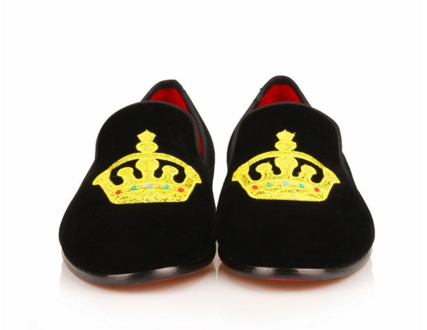Black Velvet King's Crown Loafers - Resso Roth