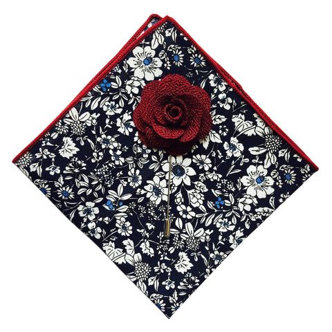 Floral Pocket Square + Burgundy Lapel Pin - Resso Roth