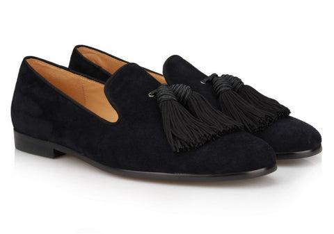 Black Big Tassel Velvet Loafers - Resso Roth