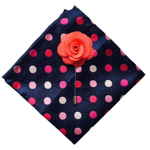 Polka Dot Pocket Square + Blush Lapel Pin - Resso Roth