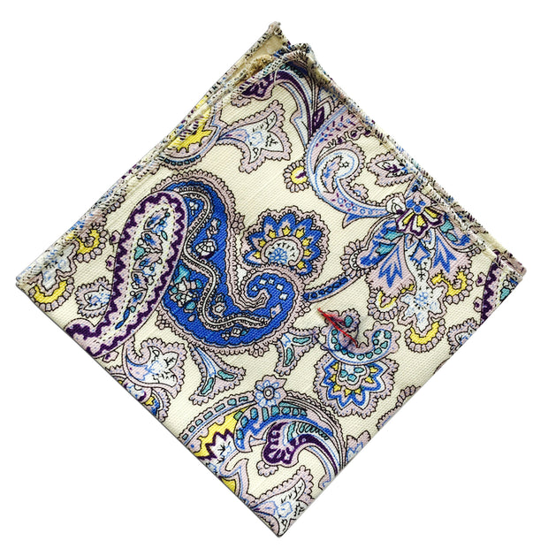 Tan Paisley Pocket Square - Resso Roth