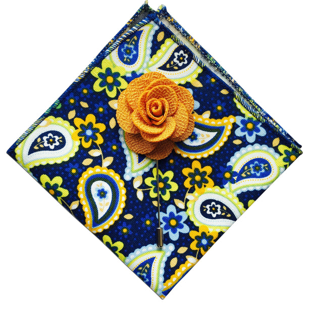 Paisley Pocket Square + Yellow Lapel Pin - Resso Roth