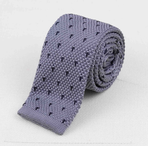 """The Grey Polka Dot"" Skinny Knit Tie - Resso Roth"