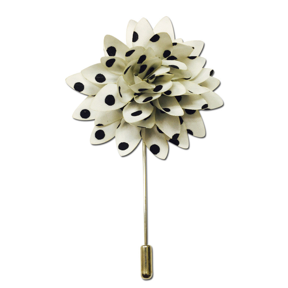 51edceafac11 White and Black Polka Dot Flower Lapel Pin Boutonniere | $12.99