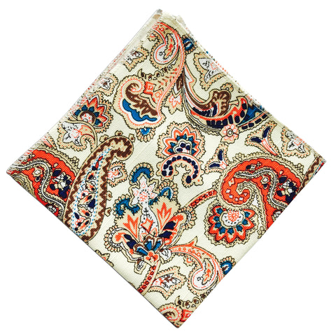 Biege Paisley Pocket Square - Resso Roth