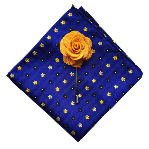 Poker Dot Pocket Square + Yellow Lapel Pin - Resso Roth