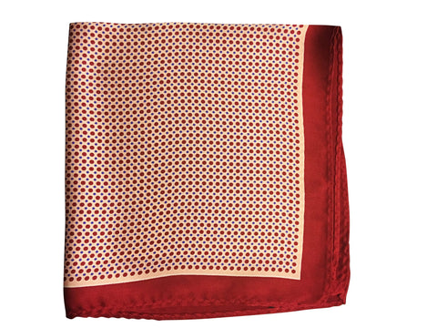 Silk Burgundy Polka Dot Pocket Square - Resso Roth