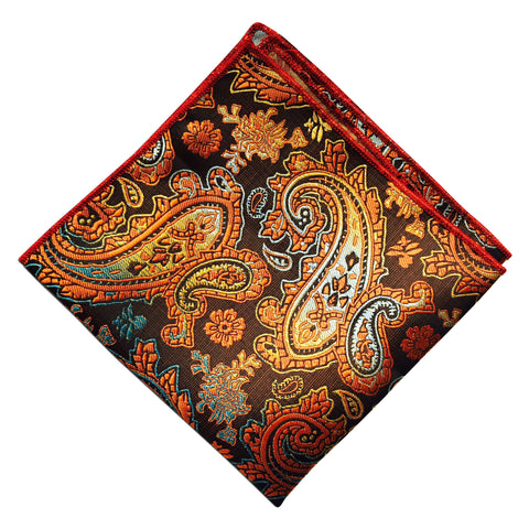 Burnt Orange Paisley Pocket Square - Resso Roth