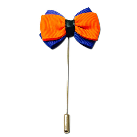 Orange and Blue Bow Lapel Pin Boutonniere - Resso Roth