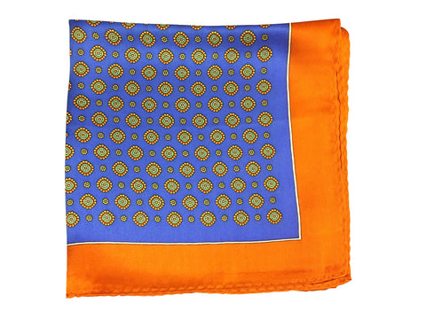 Silk Blue and Orange Pocket Square - Resso Roth