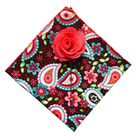 Paisley Pocket Square + Pink Lapel Pin - Resso Roth