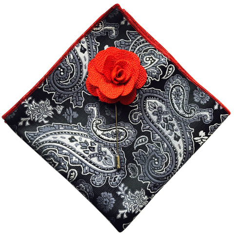 Paisley Pocket Square + Red Lapel Pin - Resso Roth
