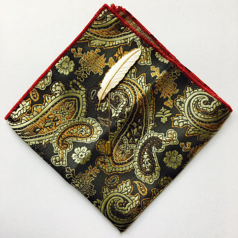 Paisley Pocket Square + Feather Lapel Pin - Resso Roth