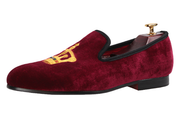 Burgundy Velvet King's Crown Loafers - Resso Roth