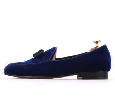 Royal Blue Velvet Bowtie Loafers - Resso Roth