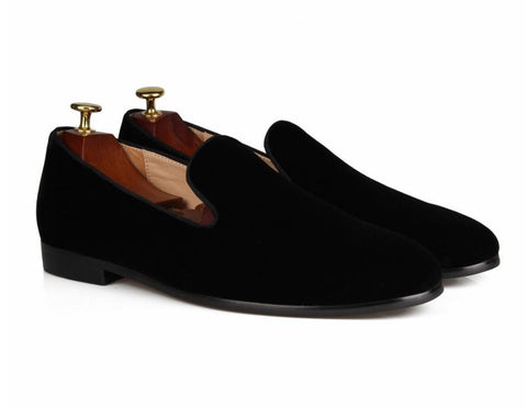 Black Velvet Slip-on Loafers
