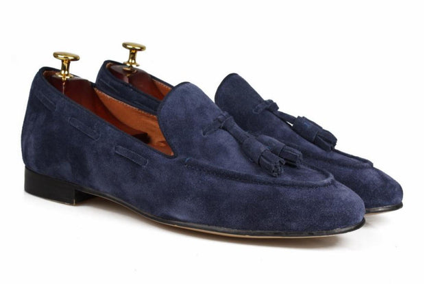 Blue Suede Tassel Loafers - Resso Roth